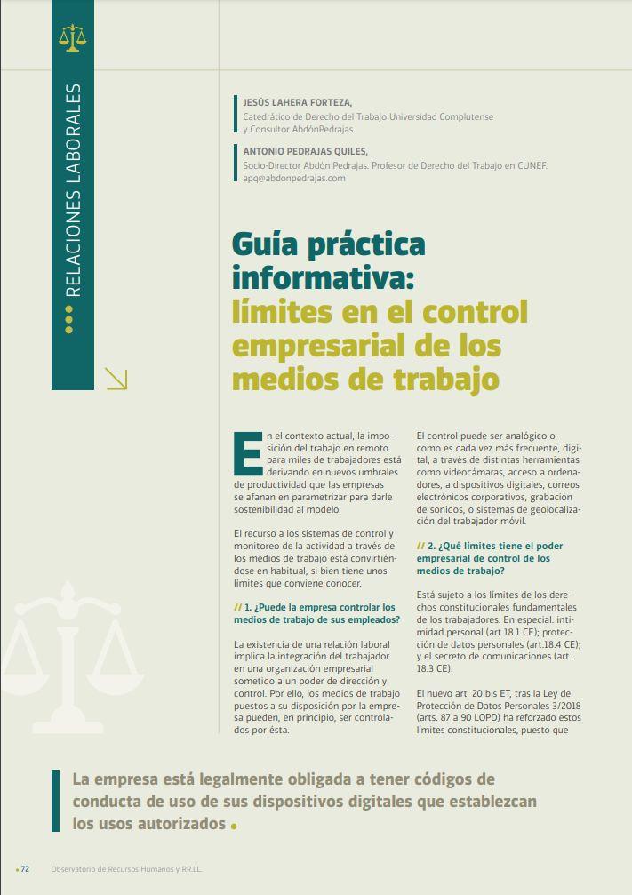 Guía práctica informativa: límites en el control empresarial de los medios de trabajo