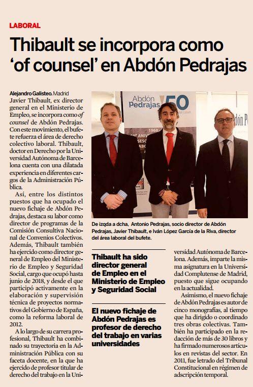 Abdón Pedrajas incorpora como Of Counsel a Javier Thibault, Profesor de Derecho del Trabajo de la U. Complutense y Exdirector General de Empleo