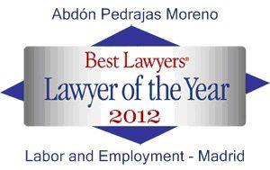 ABDÓN PEDRAJAS MORENO - PREMIO BEST LAWYER OF THE YEAR 2012.