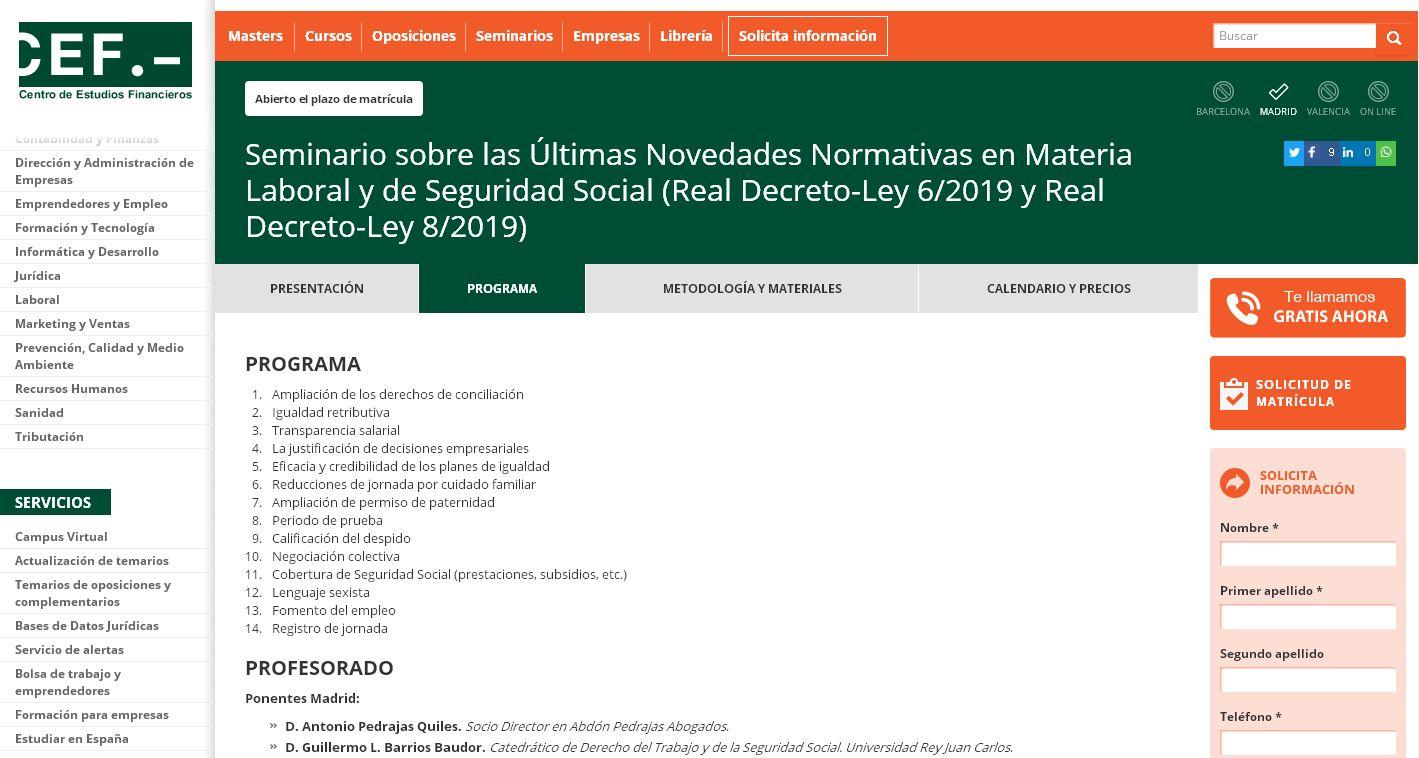 Seminario sobre las Últimas Novedades Normativas en Materia Laboral y de Seguridad Social (Real Decreto-Ley 6/2019 y Real Decreto-Ley 8/2019)