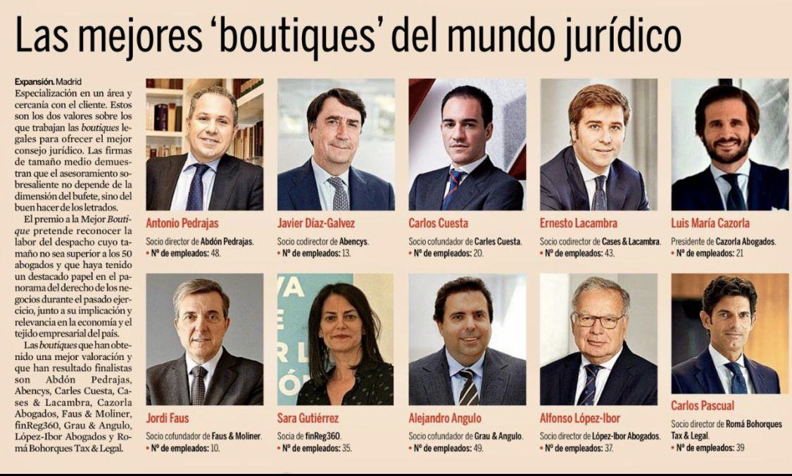 V Edición Premios Jurídicos Expansión.- Abdón Pedrajas mejor Boutique Legal de España 2020.