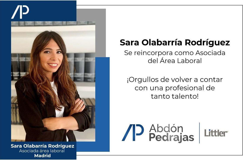 Sara Olabarría Rodríguez, se incorpora como Asociada del Área Laboral de Abdón Pedrajas Littler