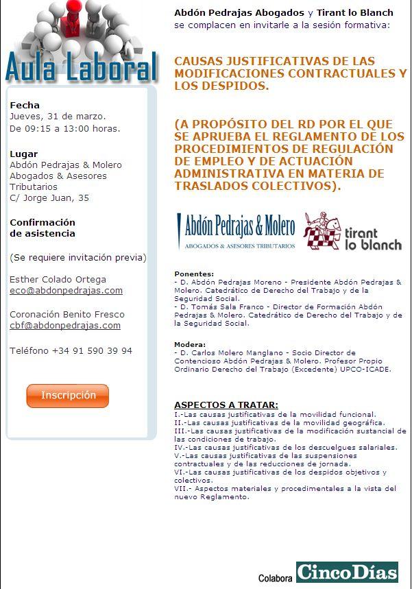 SESIÓN AULA LABORAL (ABDÓN PEDRAJAS & MOLERO ABOGADOS) - CAUSAS JUSTIFICATIVAS DE LAS MODIFICACIONES CONTRACTUALES Y LOS DESPIDOS.