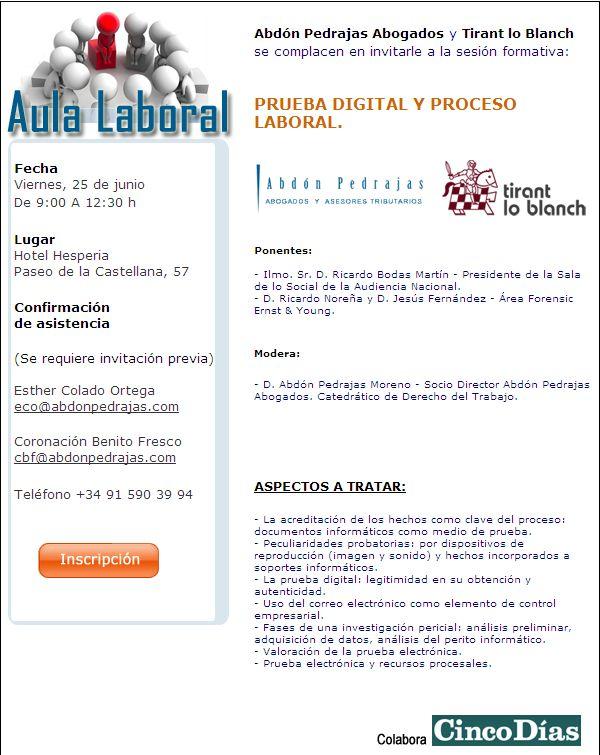 SESIÓN AULA LABORAL (ABDÓN PEDRAJAS ABOGADOS) - PRUEBA DIGITAL Y PROCESO LABORAL