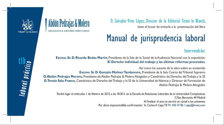 Invitación Presentación Manual de Jurisprudencia Laboral