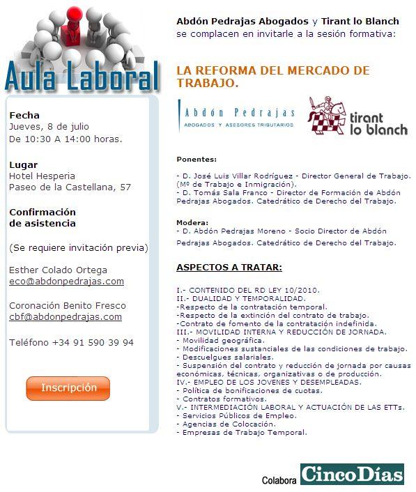 SESIÓN AULA LABORAL (ABDÓN PEDRAJAS ABOGADOS) - LA REFORMA DEL MERCADO DE TRABAJO