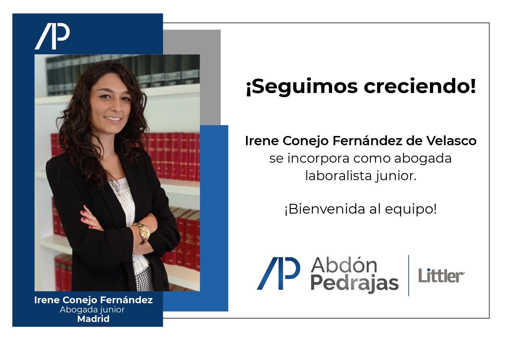 Irene Conejo Fernández de Velasco, se incorpora como Abogada junior de Abdón Pedrajas Littler