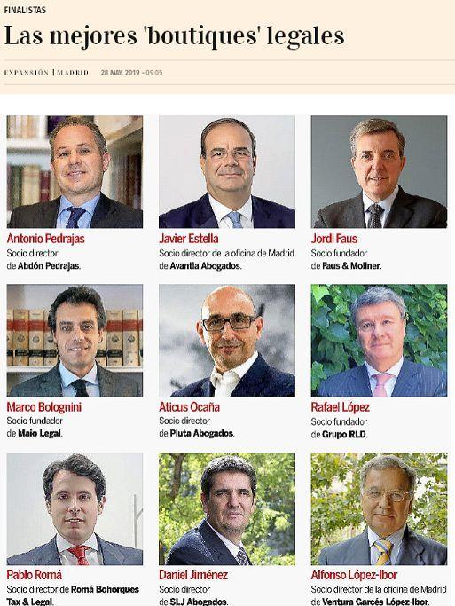 IV Edición Premios Jurídicos Expansión.- Abdón Pedrajas nominada por 3ª edición consecutiva como Mejor Boutique Legal de España.