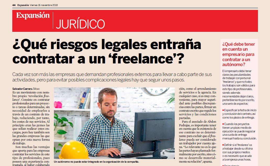 """¿Qué riesgos legales entraña contratar a un """"freelance""""?."""