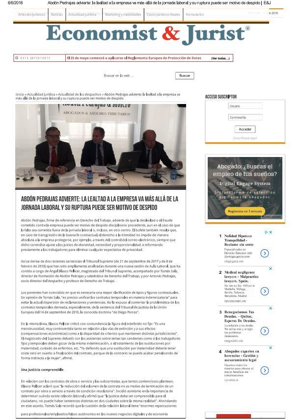 """Abdón Pedrajas advierte: """"La lealtad a la empresa va más allá de la jornada laboral y su ruptura puede ser motivo de despido"""""""