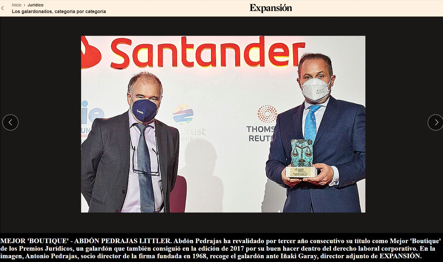 ABDÓN PEDRAJAS PREMIADA NUEVAMENTE COMO MEJOR BOUTIQUE LEGAL DE ESPAÑA EN LA VI EDICIÓN DE LOS PREMIOS JURÍDICOS EXPANSIÓN.