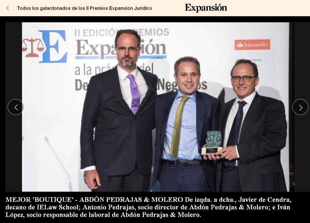 Mejor Boutique Legal de España - II Edición Premios Expansión