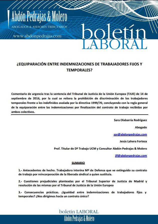 BOLETÍN LABORAL - ¿EQUIPARACIÓN ENTRE INDEMNIZACIONES DE TRABAJADORES FIJOS Y TEMPORALES?