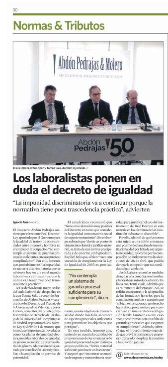 Los laboralistas ponen en duda el decreto de igualdad