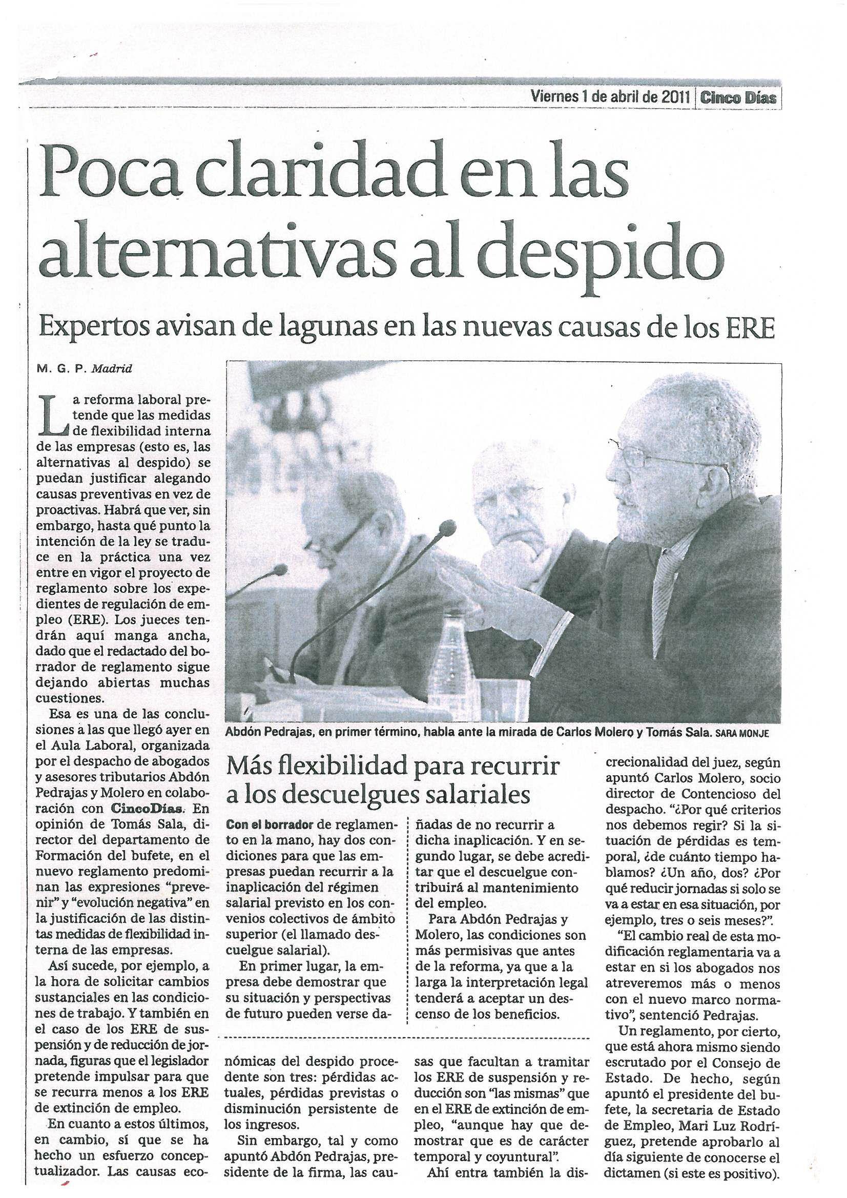 PUBLICACIÓN PERIÓDICO CINCO DÍAS  (01-04-2011) - SESIÓN AULA LABORAL (CAUSAS JUSTIFICATIVAS DE LAS MODIFICACIONES CONTRACTUALES Y LOS DESPIDOS).