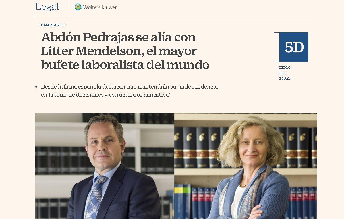 Abdón Pedrajas formará parte de Littler Global con efectos desde el 1 de enero de 2021, la estructura internacional de Littler Mendelson, con más de 1.500 abogados laboralistas y 90 sedes en todo el mundo
