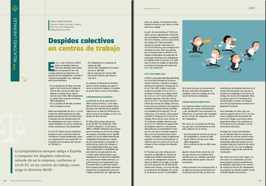 Despidos Colectivos en Centros de Trabajo - Revista Observatorio RR.HH. - Diciembre 2016