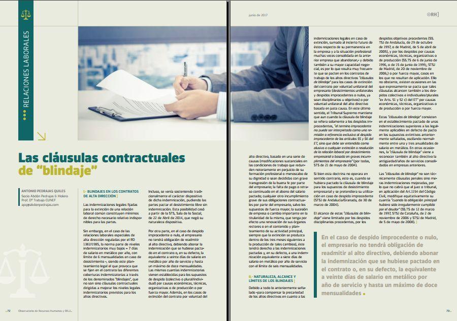 """Las cláusulas contractuales de """"blindaje"""""""