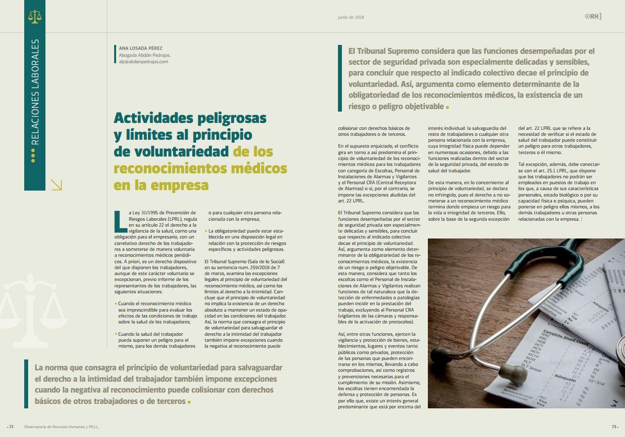 Actividades Peligrosas y Límites al Principio de Voluntariedad de los Reconocimientos Médicos en la Empresa