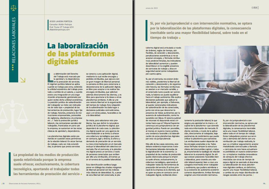 La laboralidad de las plataformas digitales