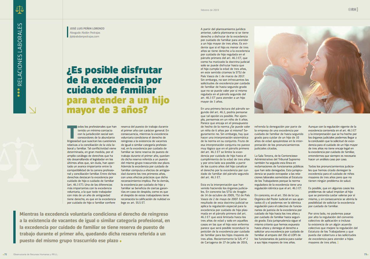 ¿Es posible disfrutar de la excedencia por cuidado de familiar para atender a un hijo mayor de 3 años?