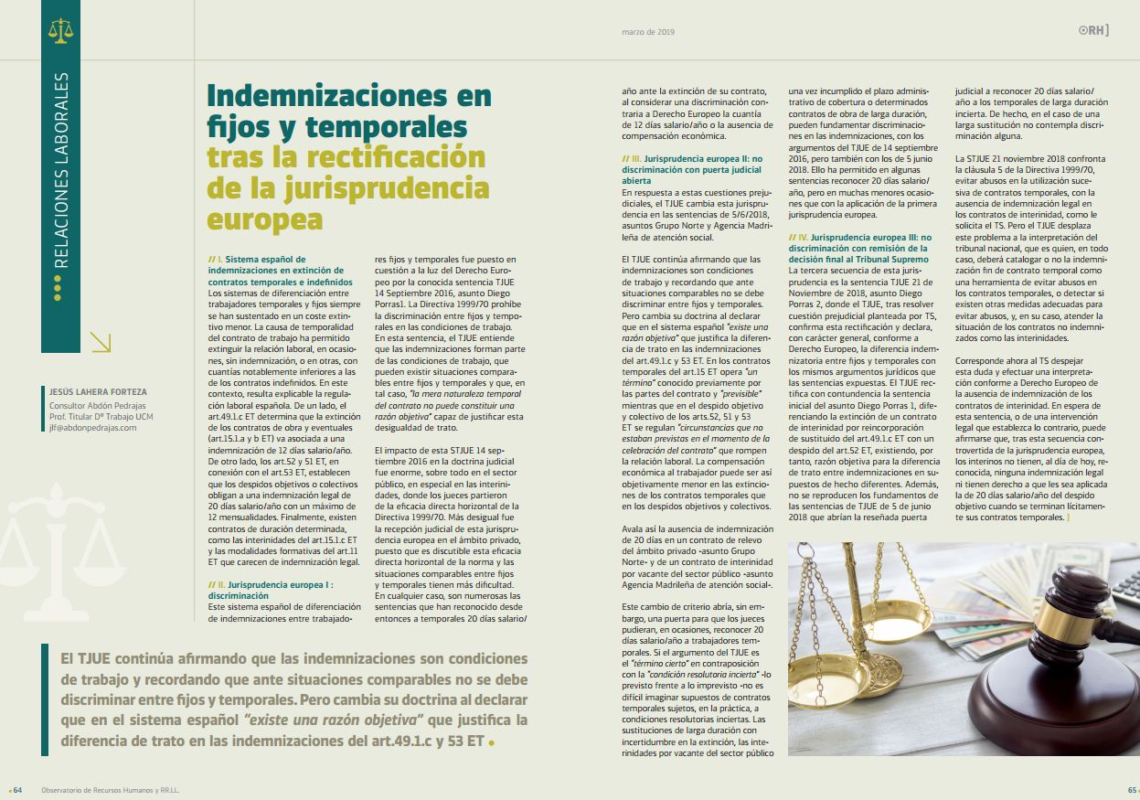 Indemnizaciones en fijos y temporales tras la rectificación de la jurisprudencia europea
