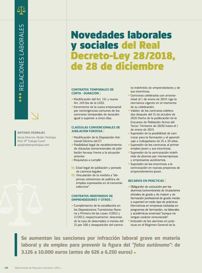 Novedades Laborales y Sociales del Real  Decreto-Ley 28/2018,  de 28 de Diciembre