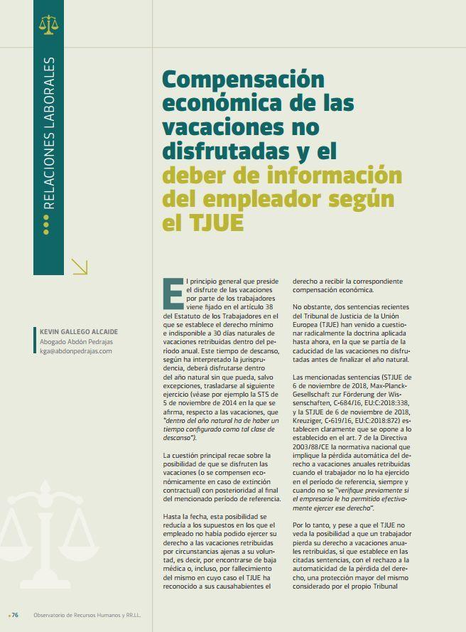Compensación económica de las vacaciones no disfrutadas y el deber de información del empleador según el TJUE