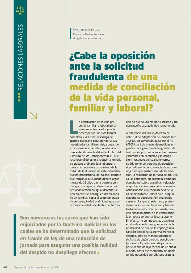 ¿Cabe la oposición ante la solicitud fraudulenta de una medida de conciliación de la vida personal, familiar y laboral?