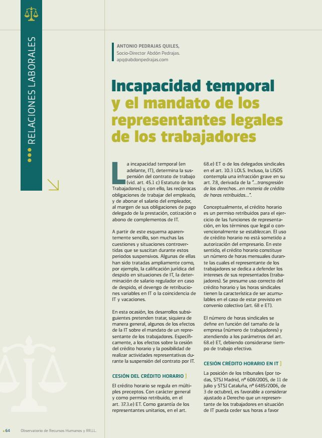 Incapacidad Temporal y el Mandato de los Representantes Legales de los Trabajadores