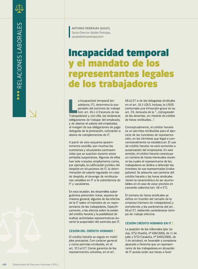 Incapacidad Temporal y el Mandato de los Representantes Legales de los Trabajadores - OBS 149 - Octubre 2019