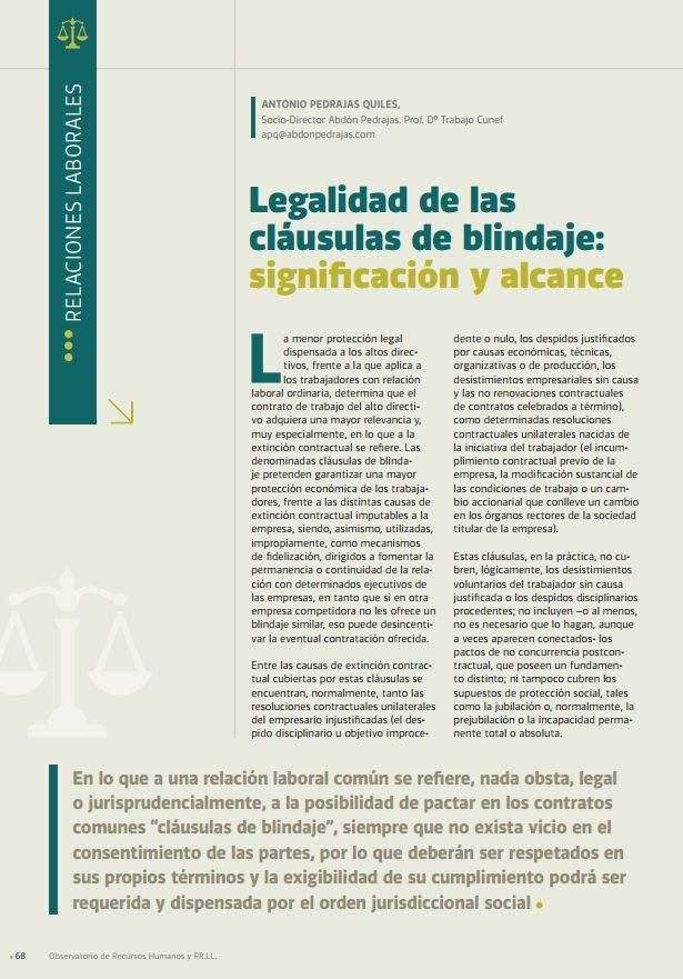 Legalidad en las Cláusulas de Blindaje: Significación y Alcance