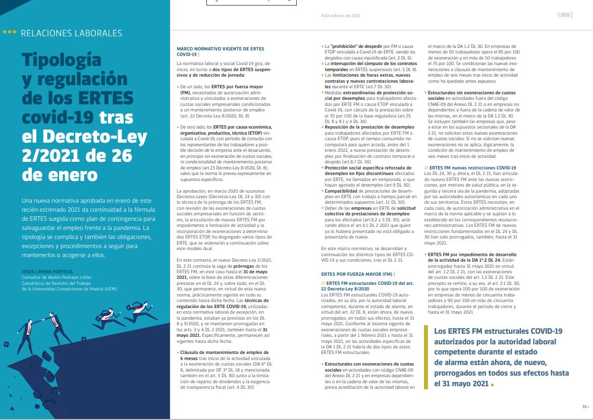 Tipología y regulación de los ERTES covid-19 tras el Decreto-Ley 2/2021 de 26 de Enero