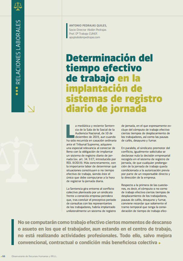 Determinación del Tiempo Efectivo de Trabajo en la Implantación de Sistemas de Registro Diario de Jornada