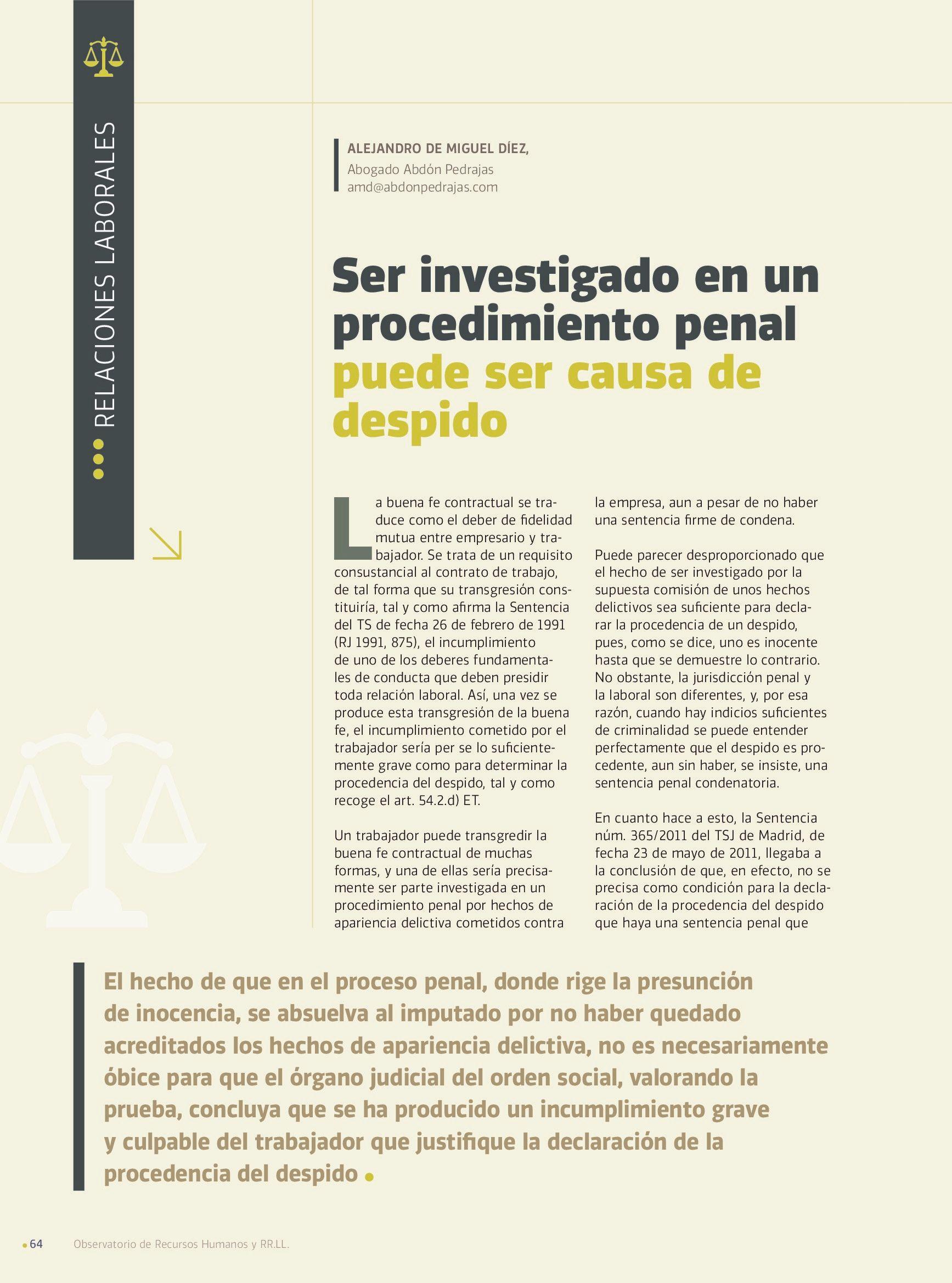 Ser investigado en un procedimiento penal puede ser causa de despido