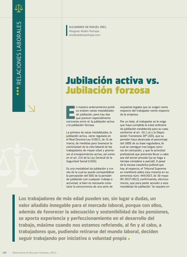 Jubilación Actica vs. Jubilación Forzosa