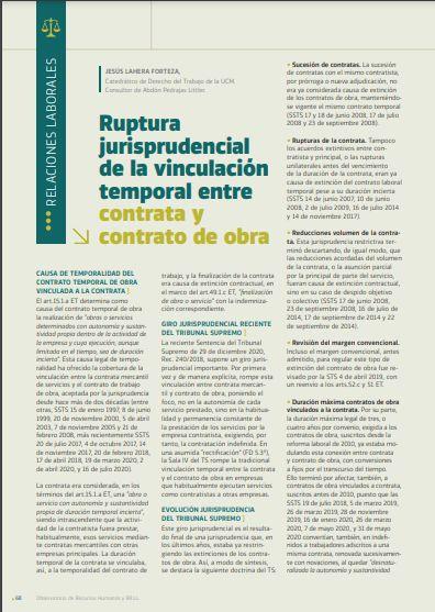 Ruptura jurisprudencial de la vinculación temporal entre contrata y contrato de obra