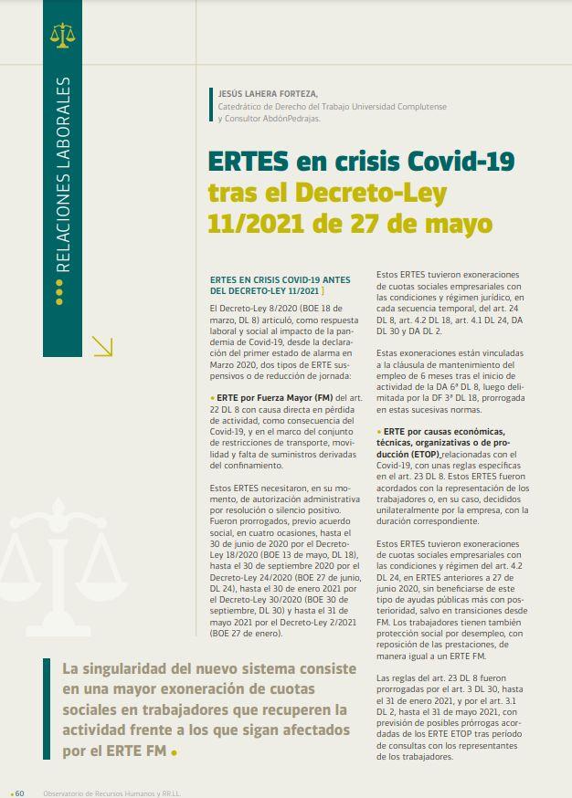 ERTES  en crisis Covid-19 tras el Decreto-Ley 11/2021 de 27 de mayo