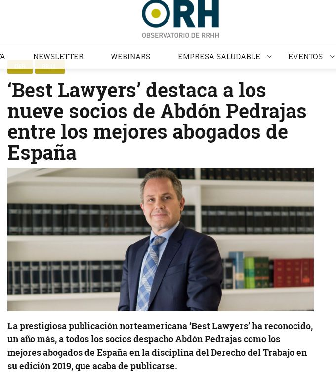 Best Lawyers destaca a los nueve socios de Abdón Pedrajas entre los mejores abogados de España.
