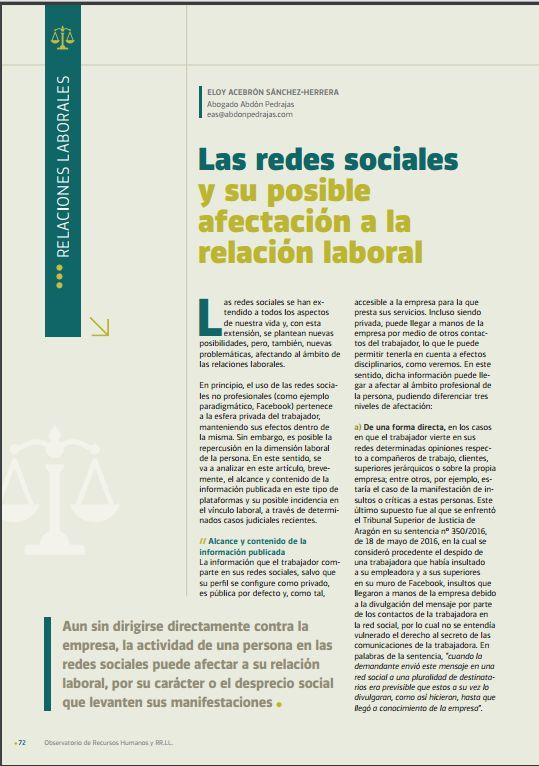 Las redes sociales y su posible afectación a la relación laboral.