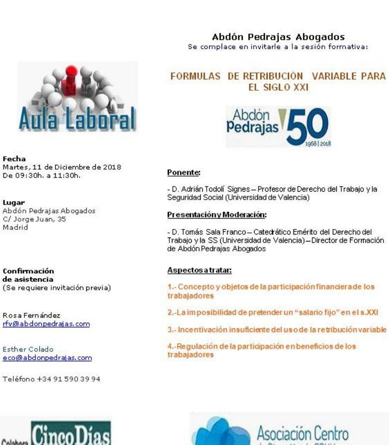 Sesión Aula Laboral - FORMULAS DE RETRIBUCIÓN VARIABLE PARA EL SIGLO XXI