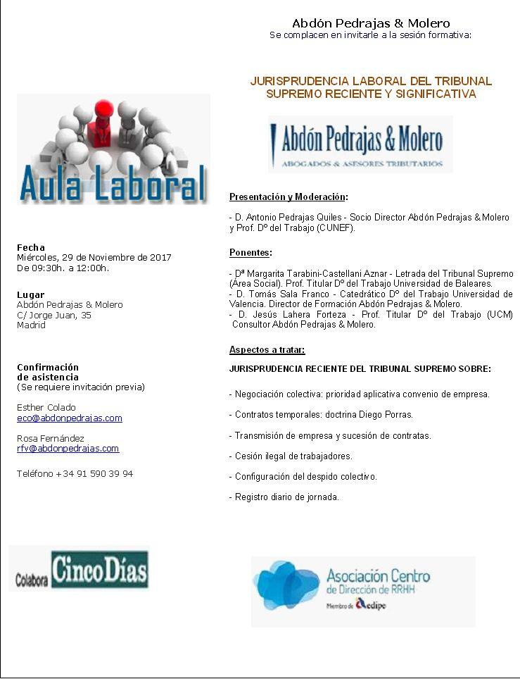 Sesión Aula Laboral - JURISPRUDENCIA LABORAL DEL TRIBUNAL SUPREMO RECIENTE Y SIGNIFICATIVA