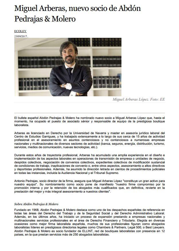 Miguel Arberas, nuevo socio de Abdón Pedrajas & Molero