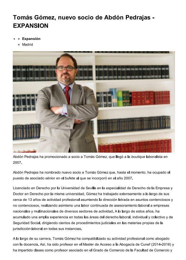 Tomás Gómez, nuevo Socio de Abdón Pedrajas